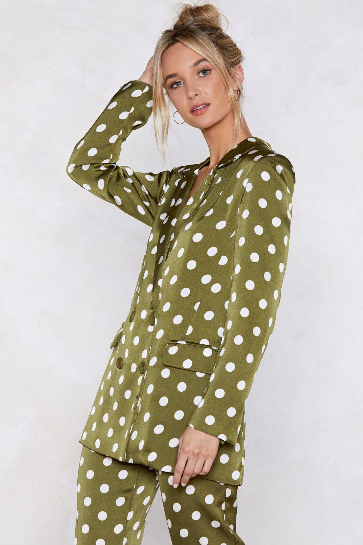 ceda106de32 Womens Green Going Somewhere Green Polka Dot Blazer