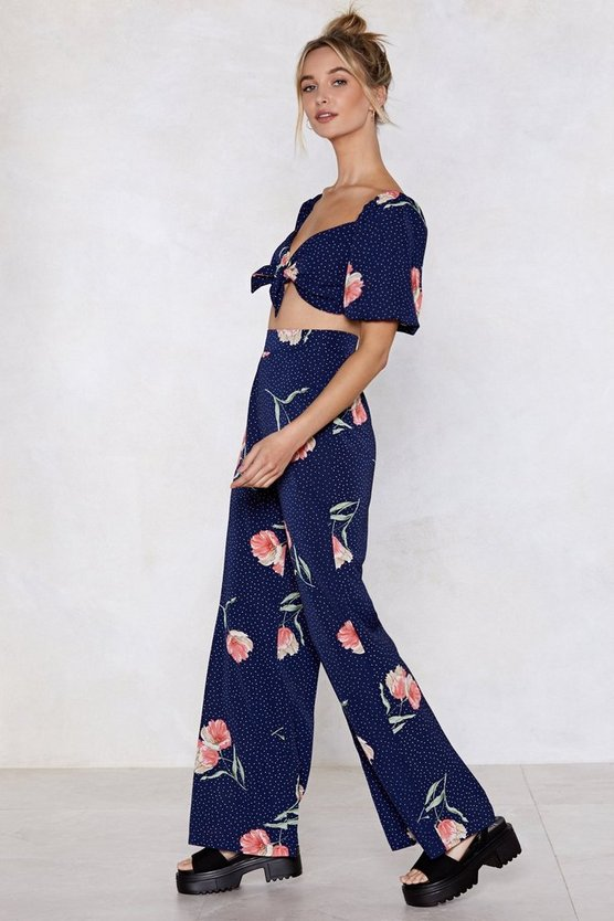 Just A Spot Of Florals Polka Dot Top And Pants Set by Nasty Gal