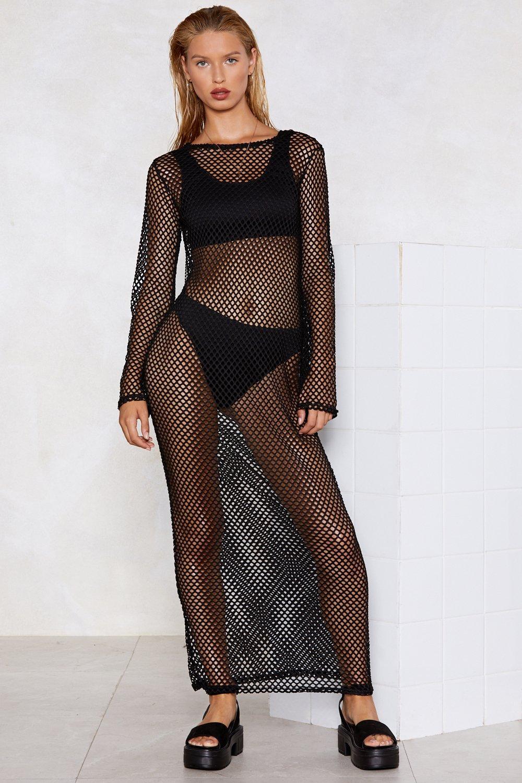 cb993bde920 Womens Black Net My Drift Fishnet Dress