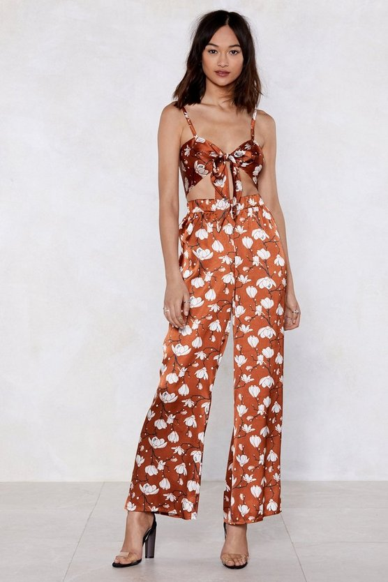 Floral Me Satin Bra Top And Pants Set by Nasty Gal