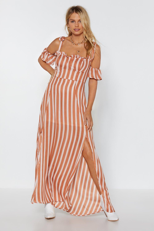 fad92db766 Womens Peach Sleeve It to Chance Striped Dress