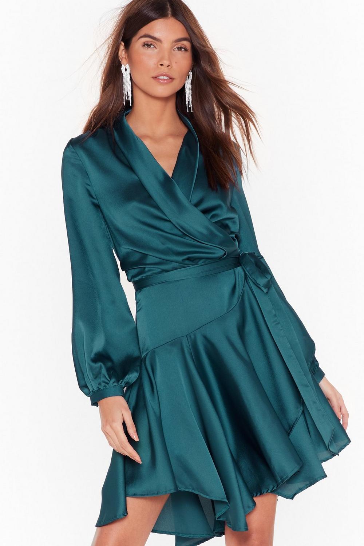 72ab7bb5b4 Hey Girl What s Satin-ing Wrap Dress