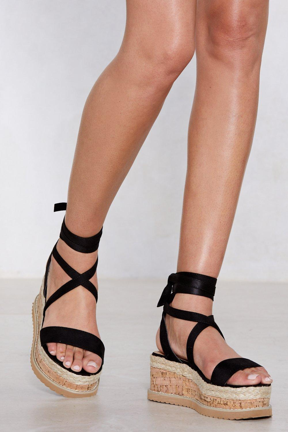 8c68afb24 Womens Black Enough with the Cork Platform Sandal
