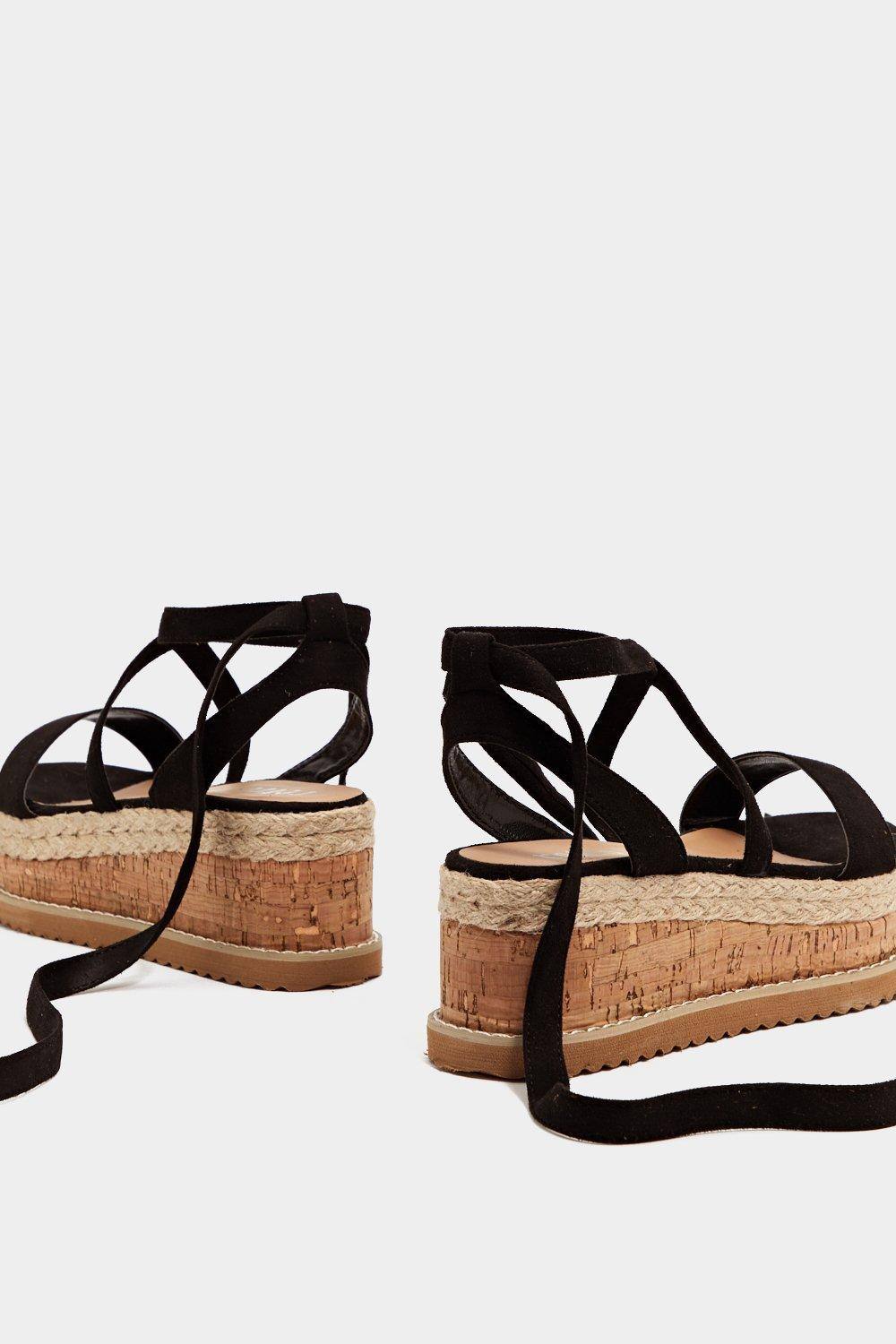 5b04da3e4 Womens Black Enough with the Cork Platform Sandal.