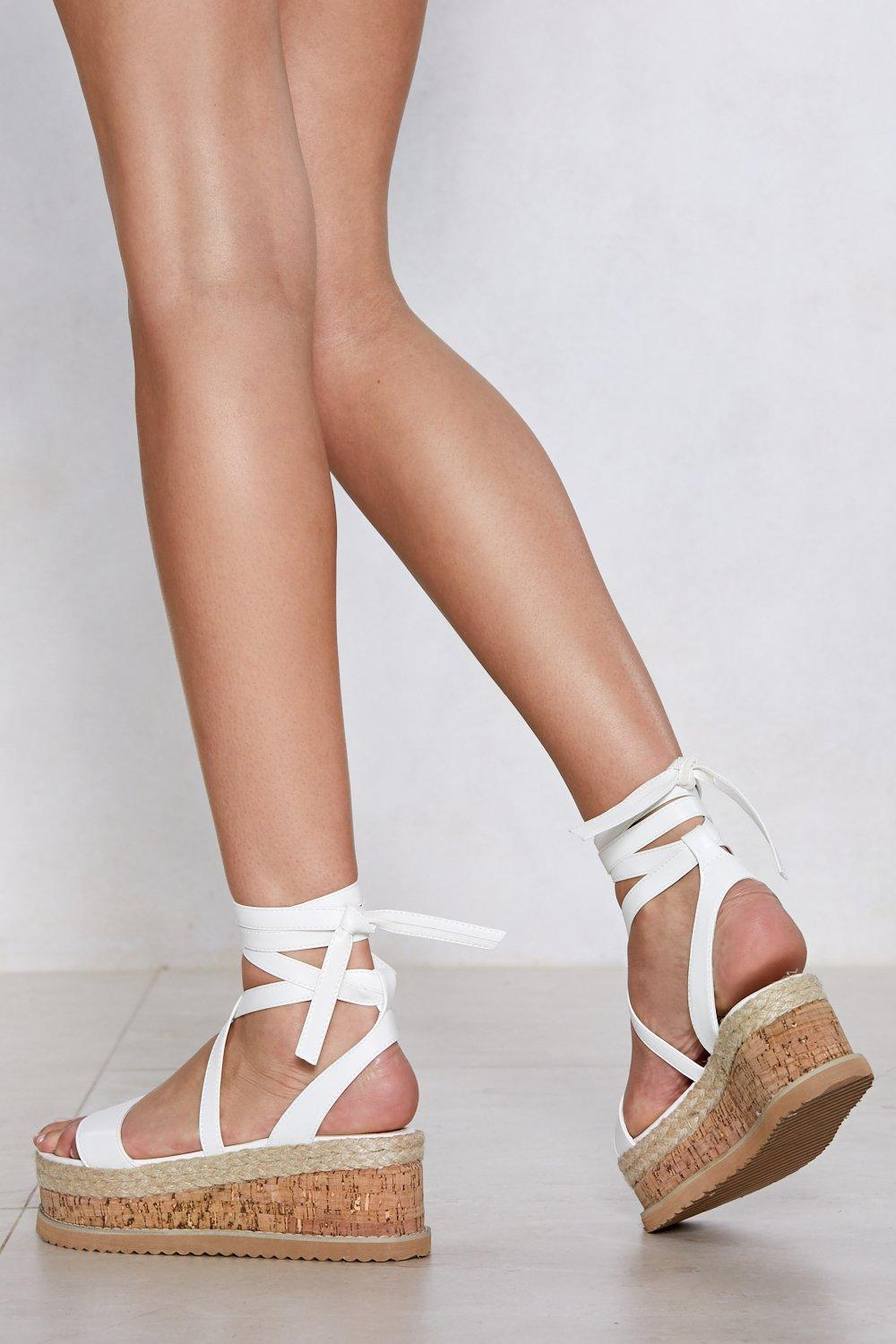 e09cbfe7b667 Womens White Enough with the Cork Platform Sandal