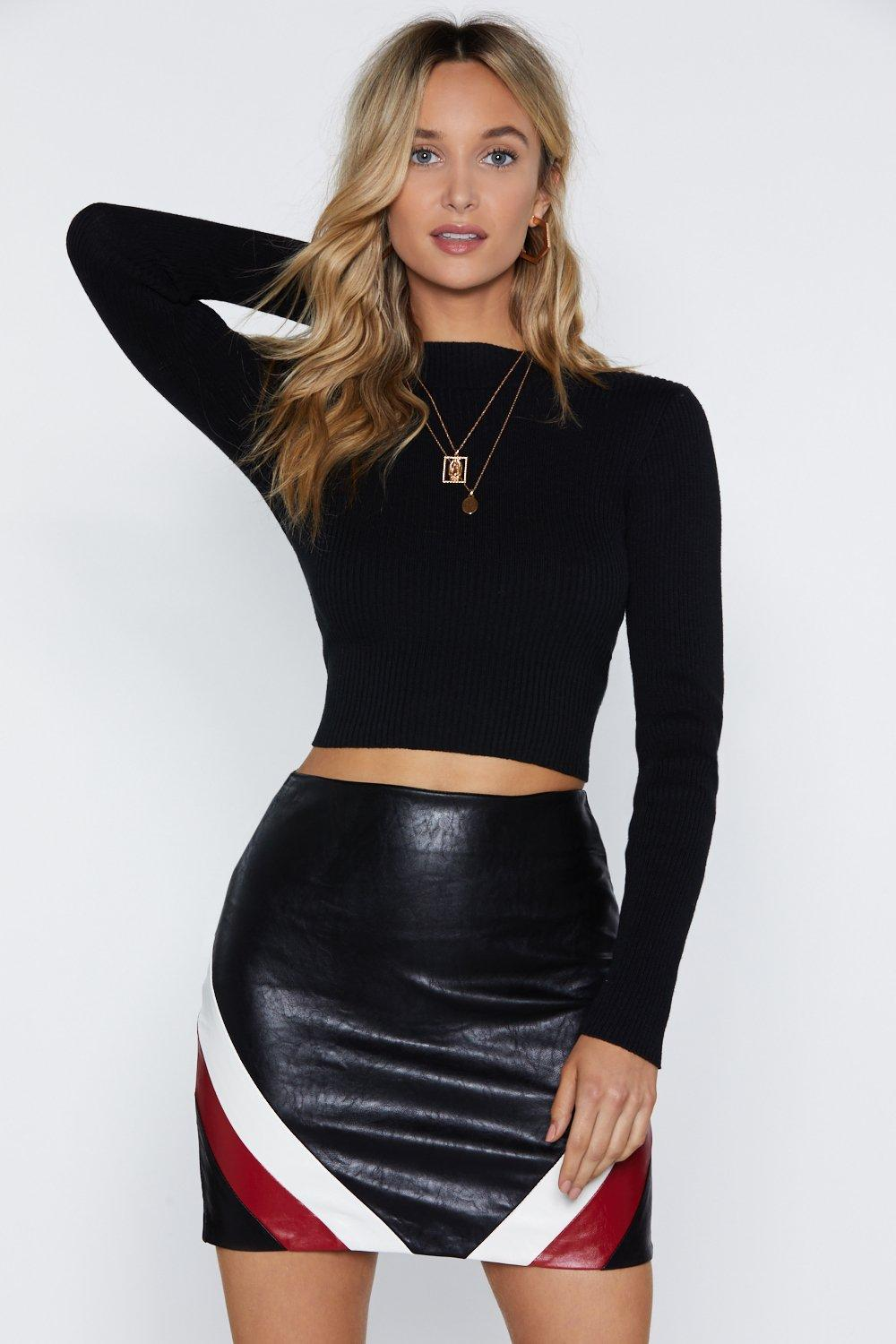Stripe In Faux Leather Skirt by Nasty Gal