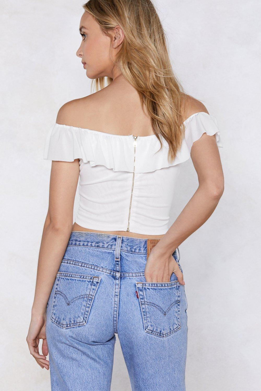 bd8ae20dc0c8c Ruche My Body Off-the-Shoulder Top