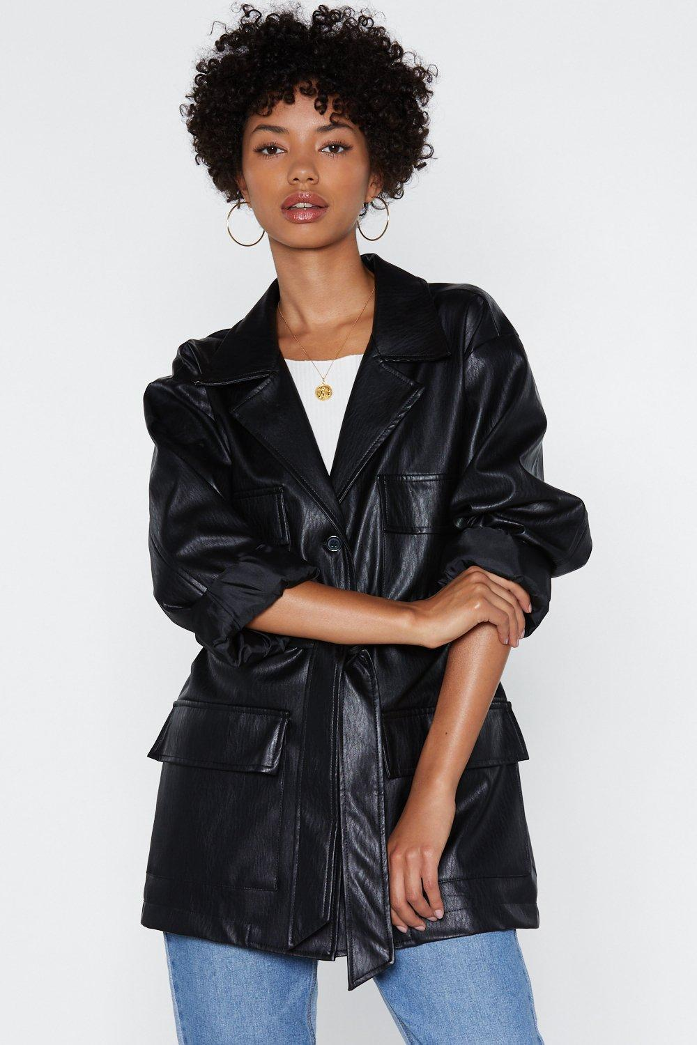 6f32b13624108c Longing for You Faux Leather Belted Jacket