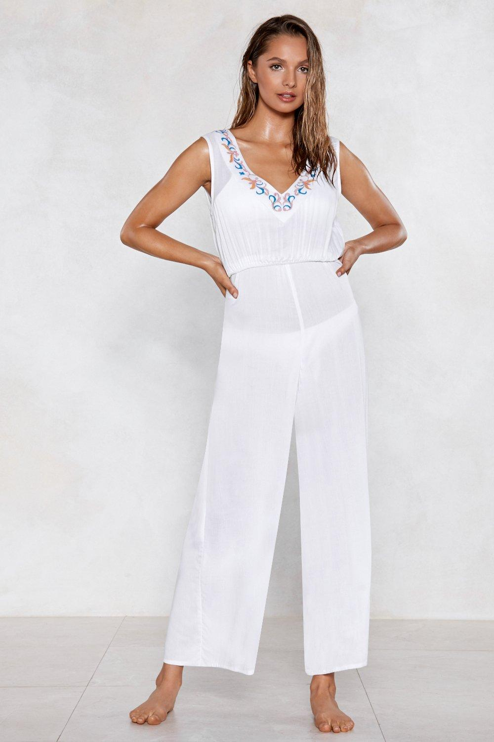 d33e67b379 Life's a Beach Embroidered Cover-Up Jumpsuit | Shop Clothes at Nasty ...