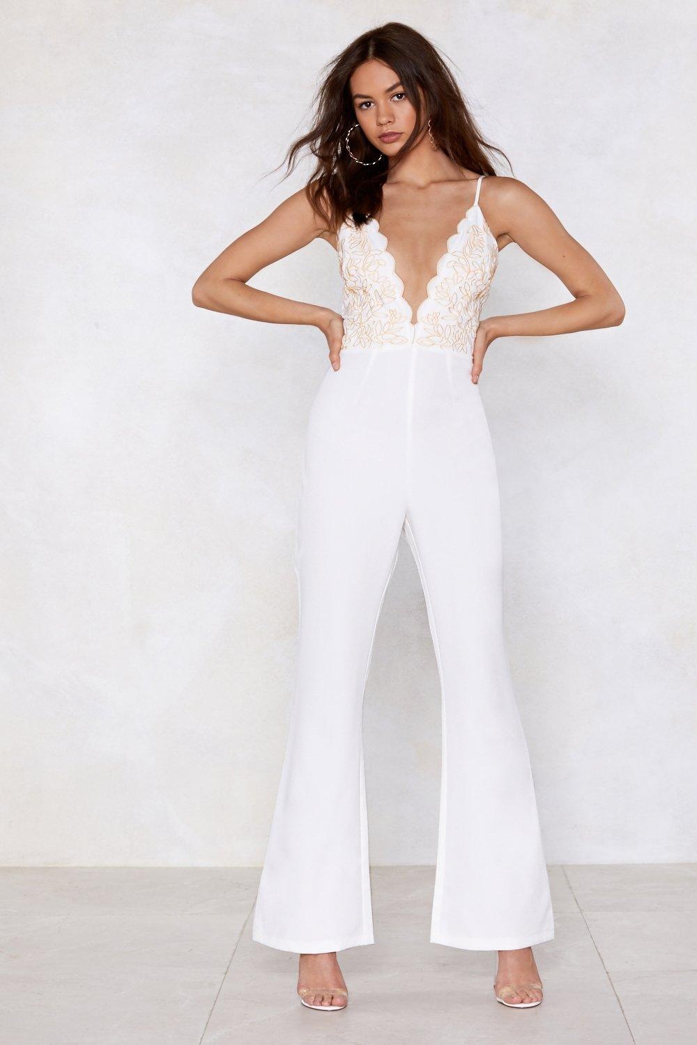 195c2ea81bf6 Womens White Nasty Gal Studio Talithia Embroidered Jumpsuit. Hover to zoom