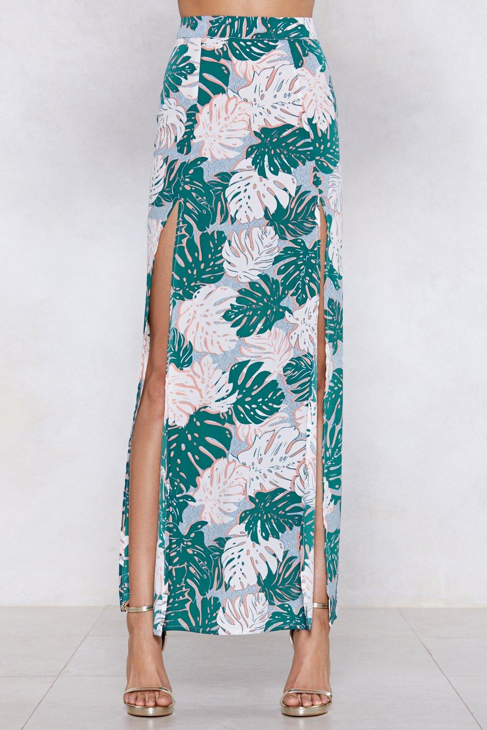 db1de49d5cd Womens Green Palm Inside the Storm Maxi Skirt. Hover to zoom