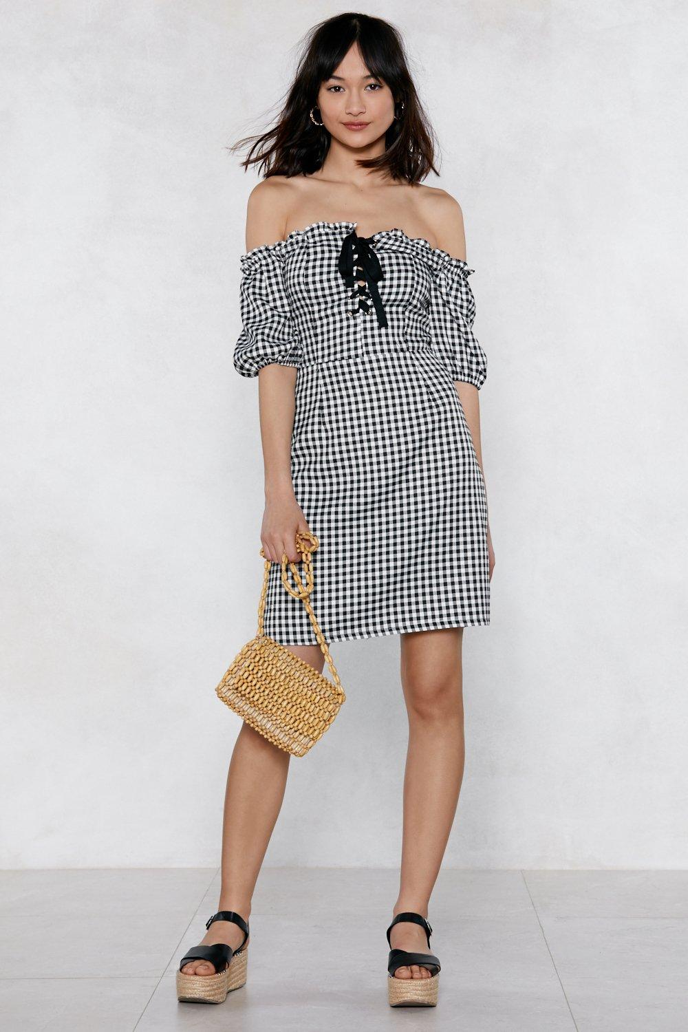 bb2fc056bfc Womens Black Almost Square Gingham Dress. Hover to zoom