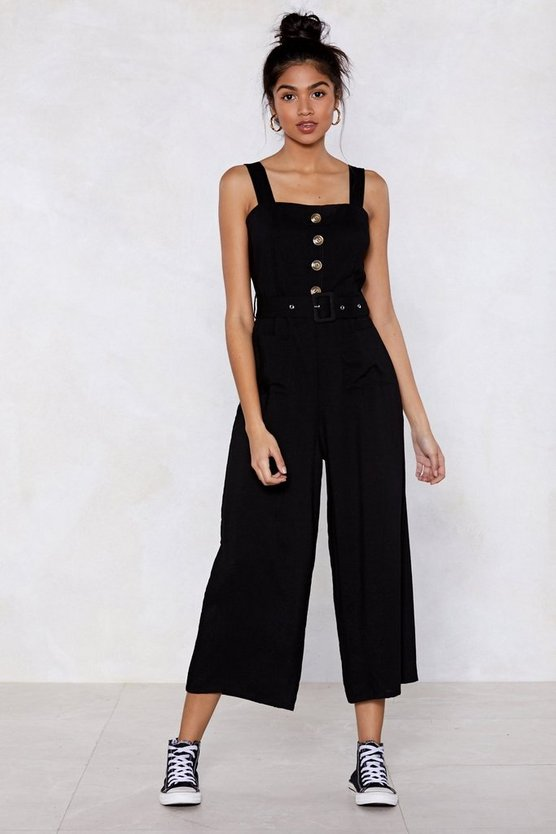 Bring It Button Jumpsuit by Nasty Gal