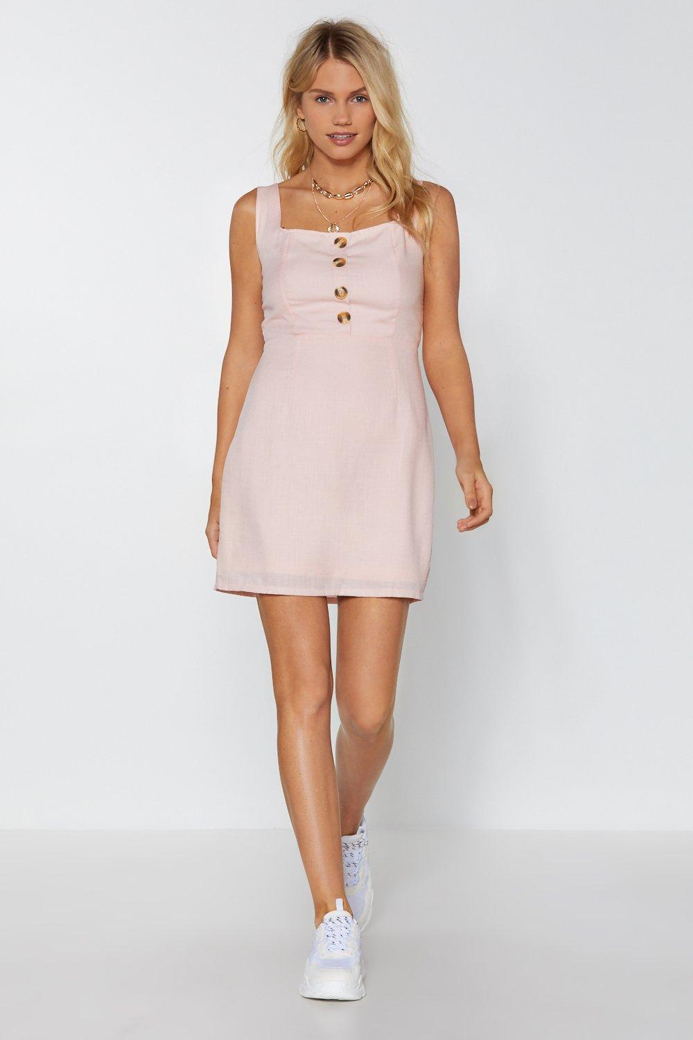 f2c6b53fd3 Womens Nude Button the Run Mini Dress. Hover to zoom