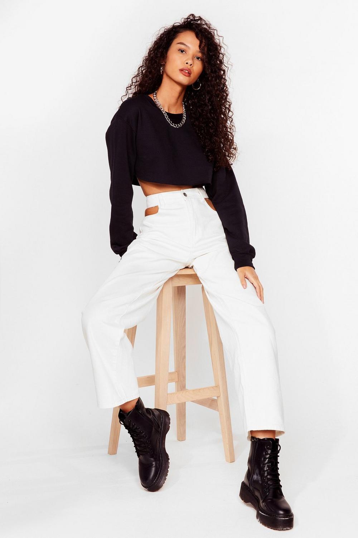 dce895c8de0 Womens Black Sit Back Cropped Sweater
