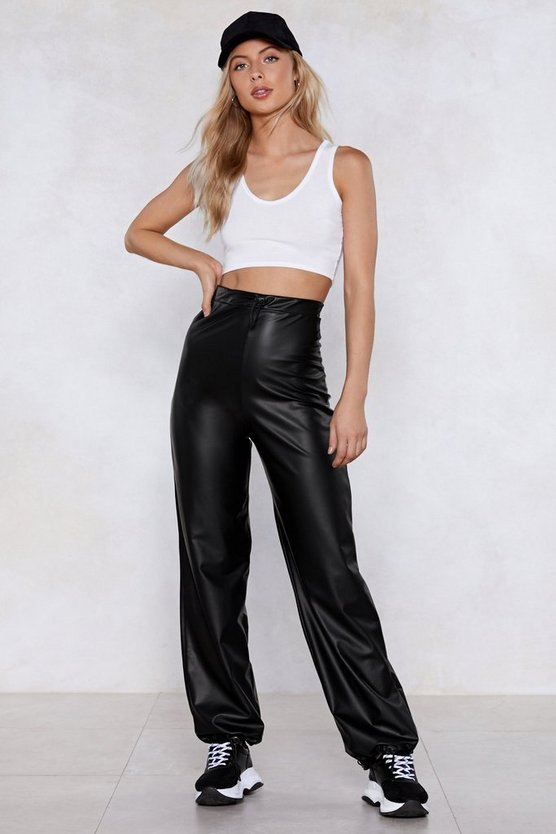 Bright Lights Black Leather Wide Leg Pants by Nasty Gal