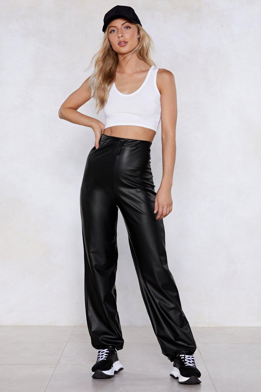 cb77c9b3c1d Bright Lights Black Leather Wide-Leg Pants