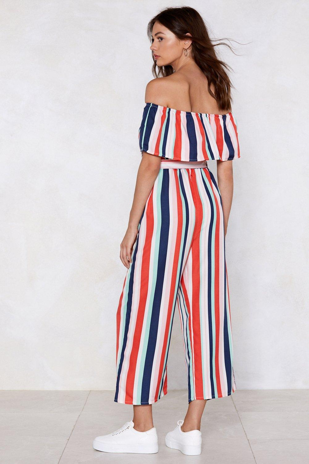 1b579fe234 Womens Red Summer Time Sadness Striped Jumpsuit. Hover to zoom