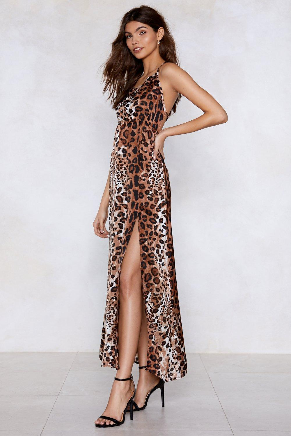 cad1760e31 Womens Brown Ferocious to the Maxi Leopard Dress
