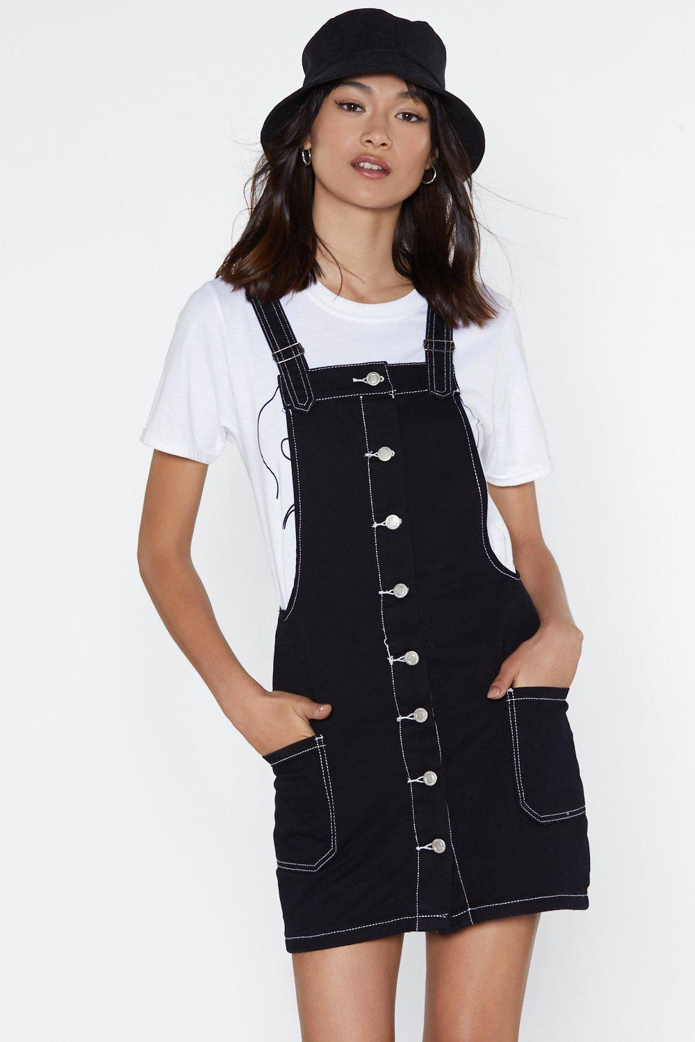 0647c405240 Hover to zoom · Welcome to the Contrast Lane Denim Pinafore