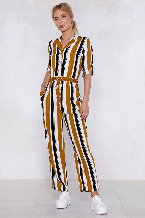 Skip The Line Striped Jumpsuit by Nasty Gal