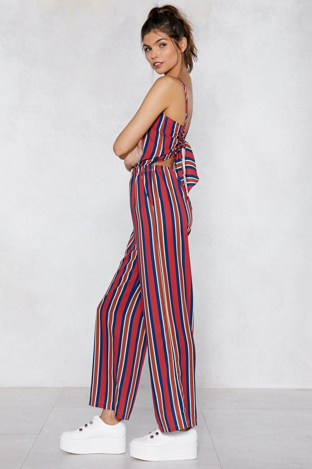 15eda423d606 Straighten Your Act Striped Jumpsuit
