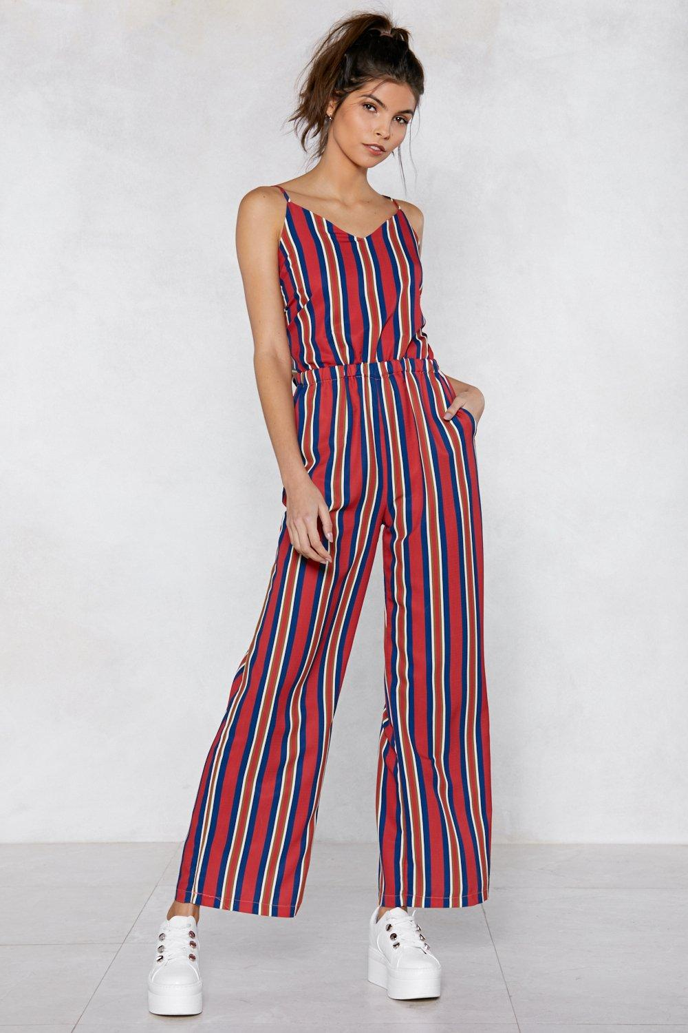 775619592e7f Blue And White Striped Jumpsuit With Tie