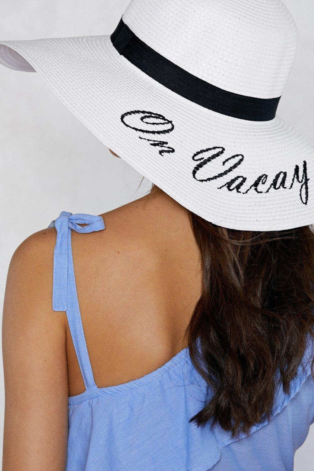 49a16c20185b7 Womens White On Vacay Straw Hat