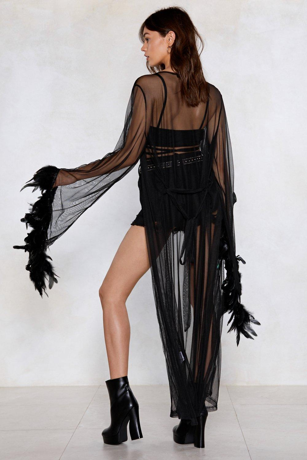 ee7207029949 For-Feather Yours Mesh Kimono | Shop Clothes at Nasty Gal!