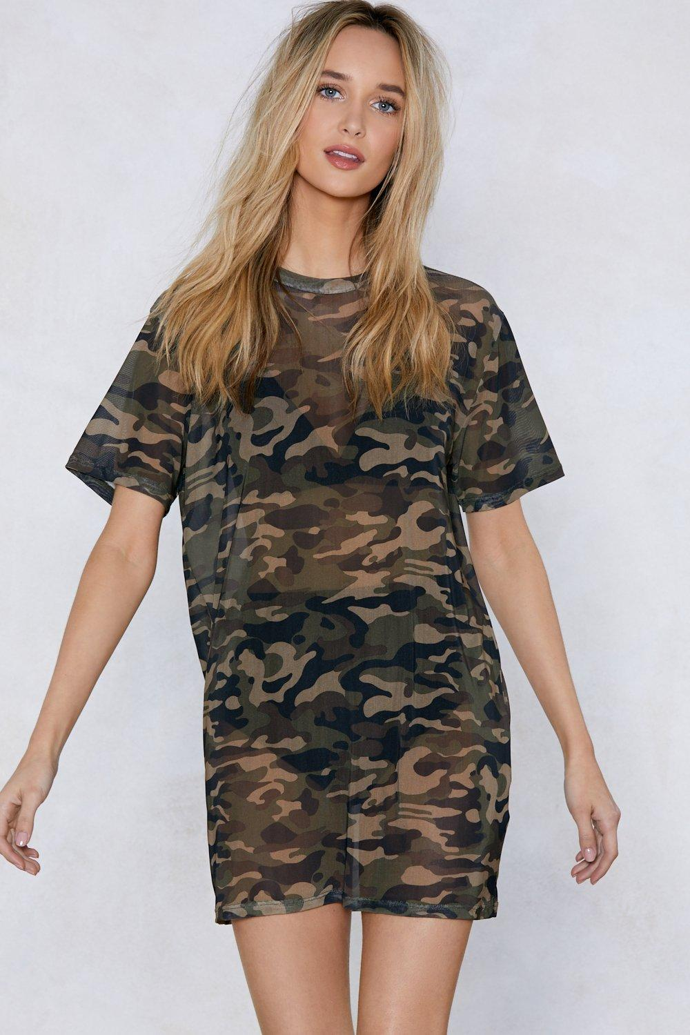You Mesh Believe It Camo Dress | Shop Clothes at Nasty Gal!