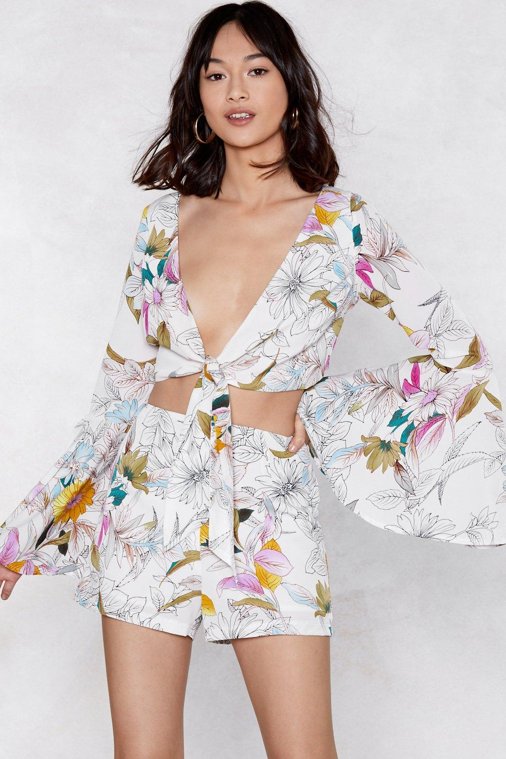 9936fa648803bf Hate It When You Leaf Floral Crop Top and Shorts Set