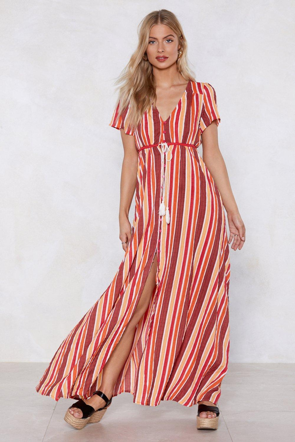 640440847f41 Womens Orange A Stripe Girl Through and Through Maxi Dress. Hover to zoom