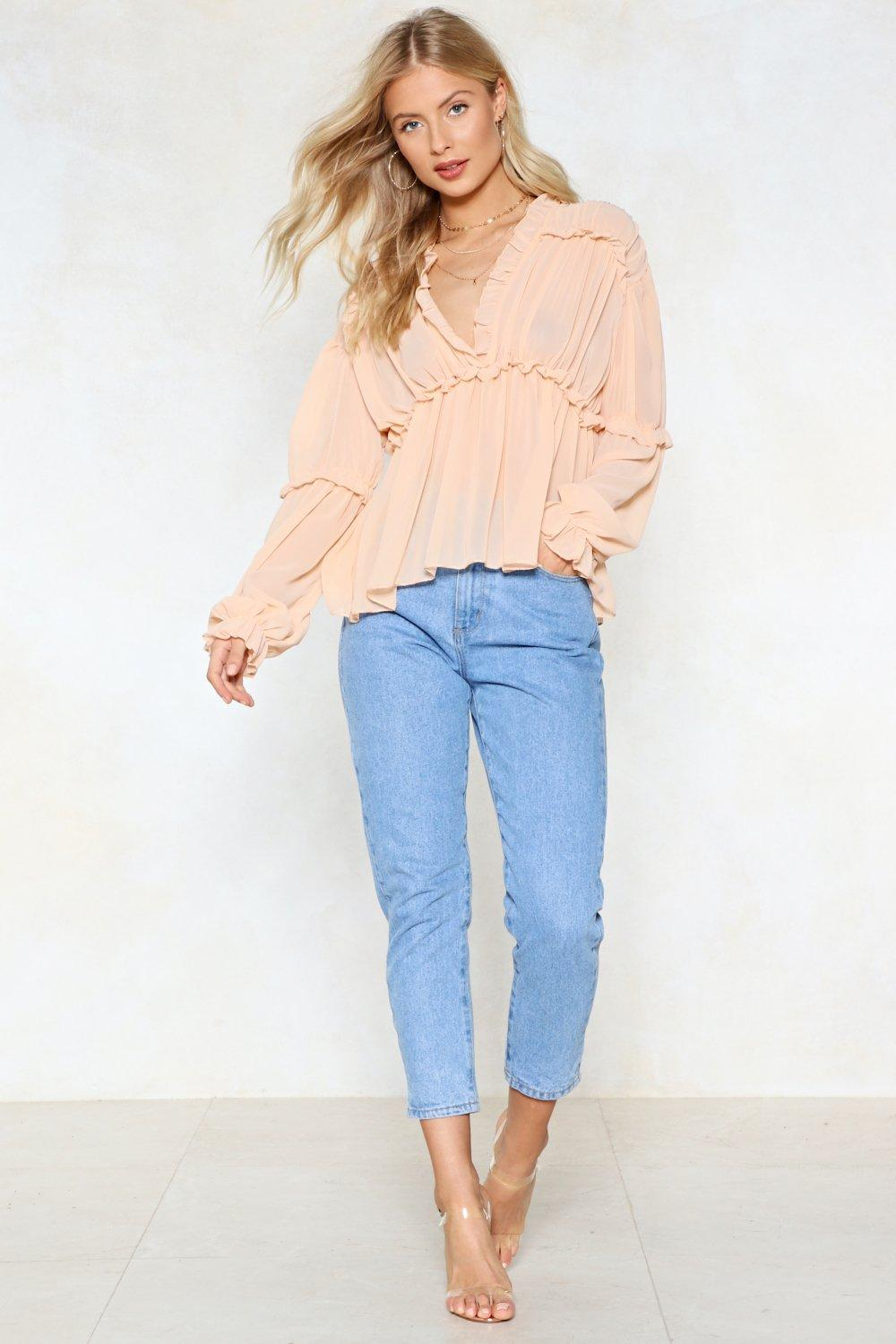 9fa0235f4bc Womens Nude Ruffle Riders Blouse. Hover to zoom