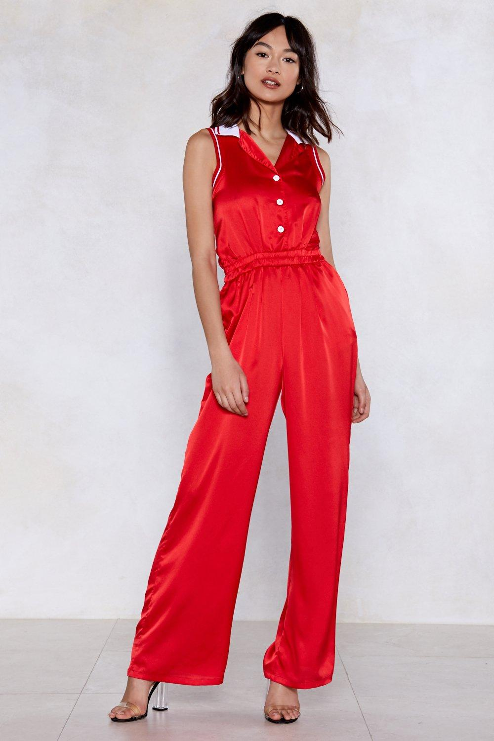 9a215bee41b7 Seeing Red Satin Jumpsuit