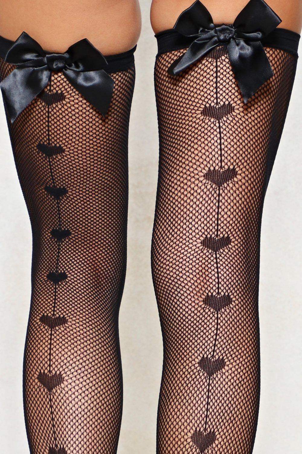 e18142c755ceb2 Womens Black Wear Your Heart on Your Seam Fishnet Stockings. Hover to zoom