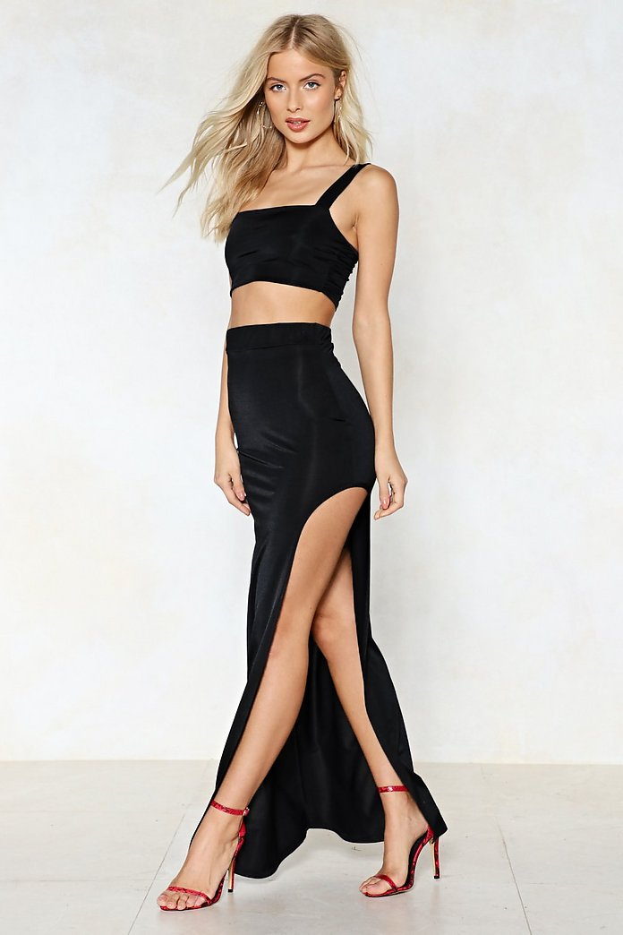 Slit Tight Crop Top And Skirt Set Shop Clothes At Nasty Gal