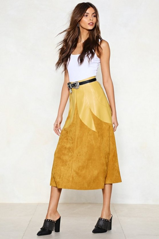 Know A Thing Or Two Vegan Suede Skirt by Nasty Gal