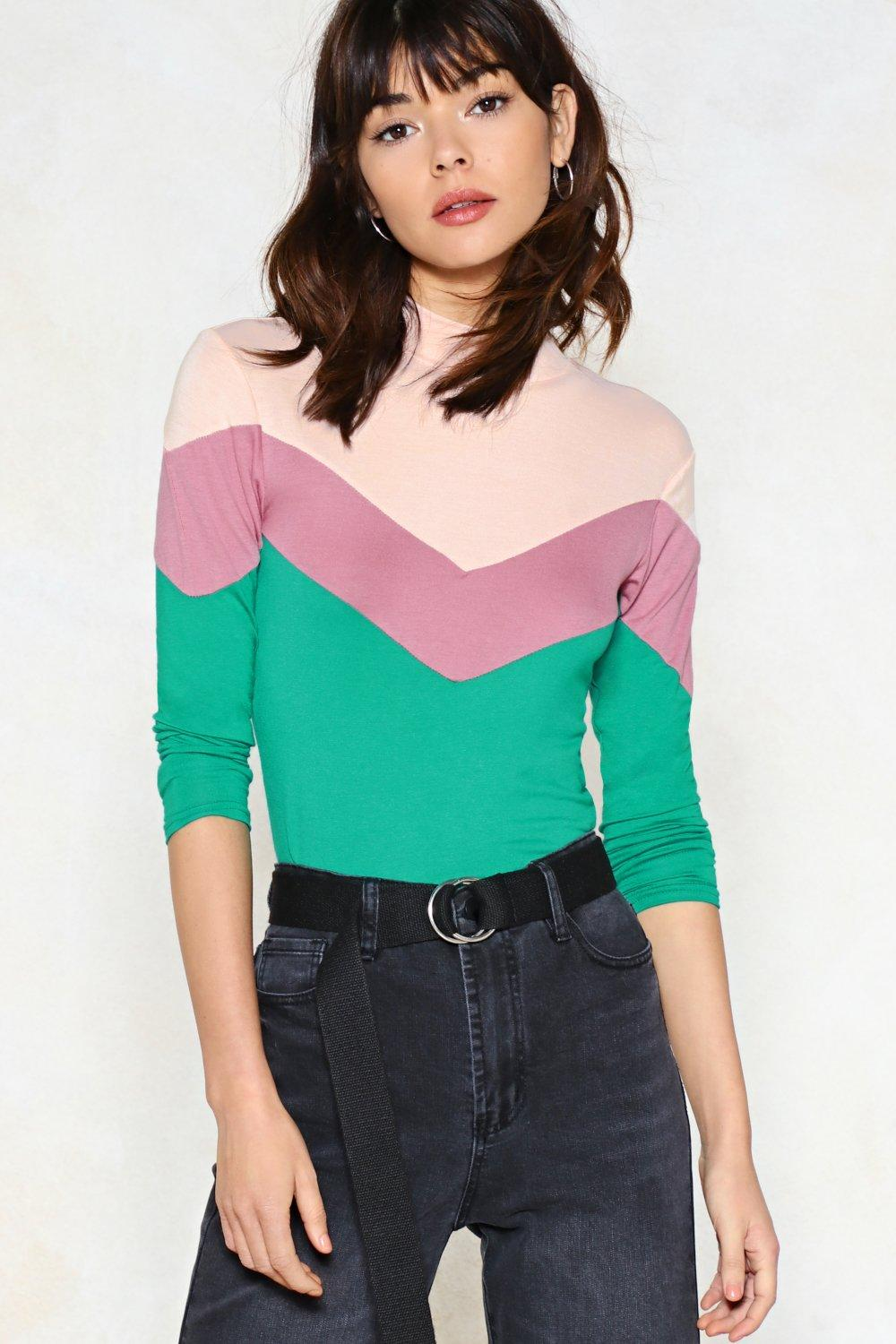 You\'re Chevron of a Kind Color Block Top   Shop Clothes at Nasty Gal!