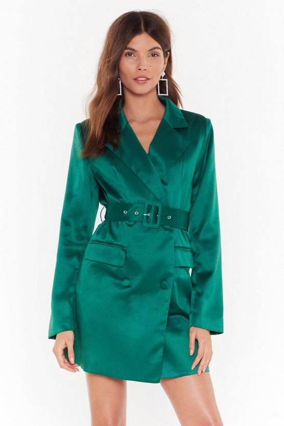 Taking Care Of Business Satin Dress by Nasty Gal
