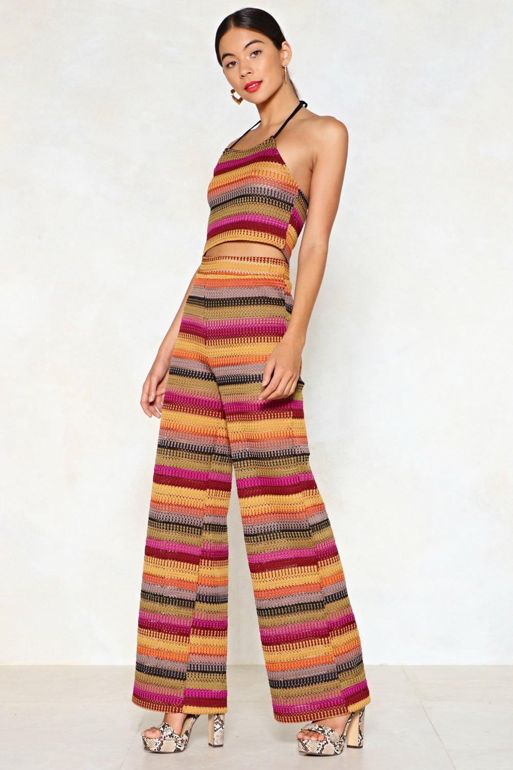 4fc308ed52f6f2 Stripe One Halter Top and Wide-Leg Pants Set