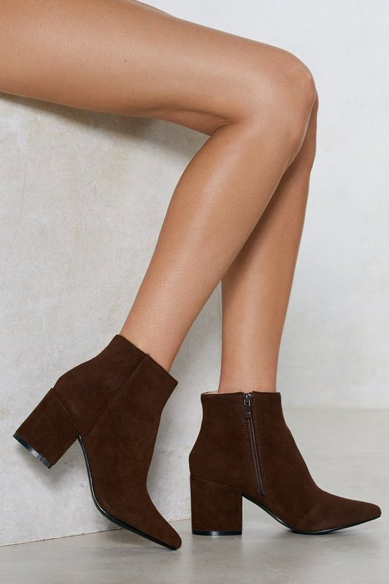 Vegan Suede Our Wardrobe Ankle Bootie by Nasty Gal