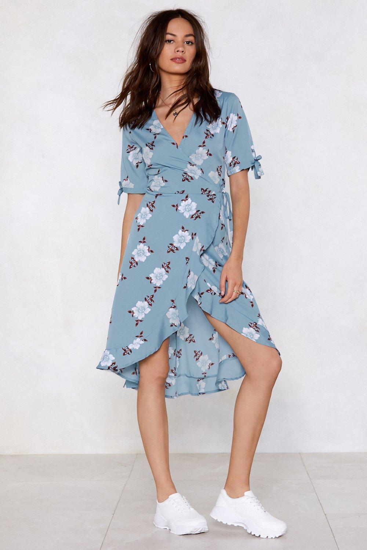 dfec5aa4617 Womens Blue Let Your Garden Down Wrap Dress