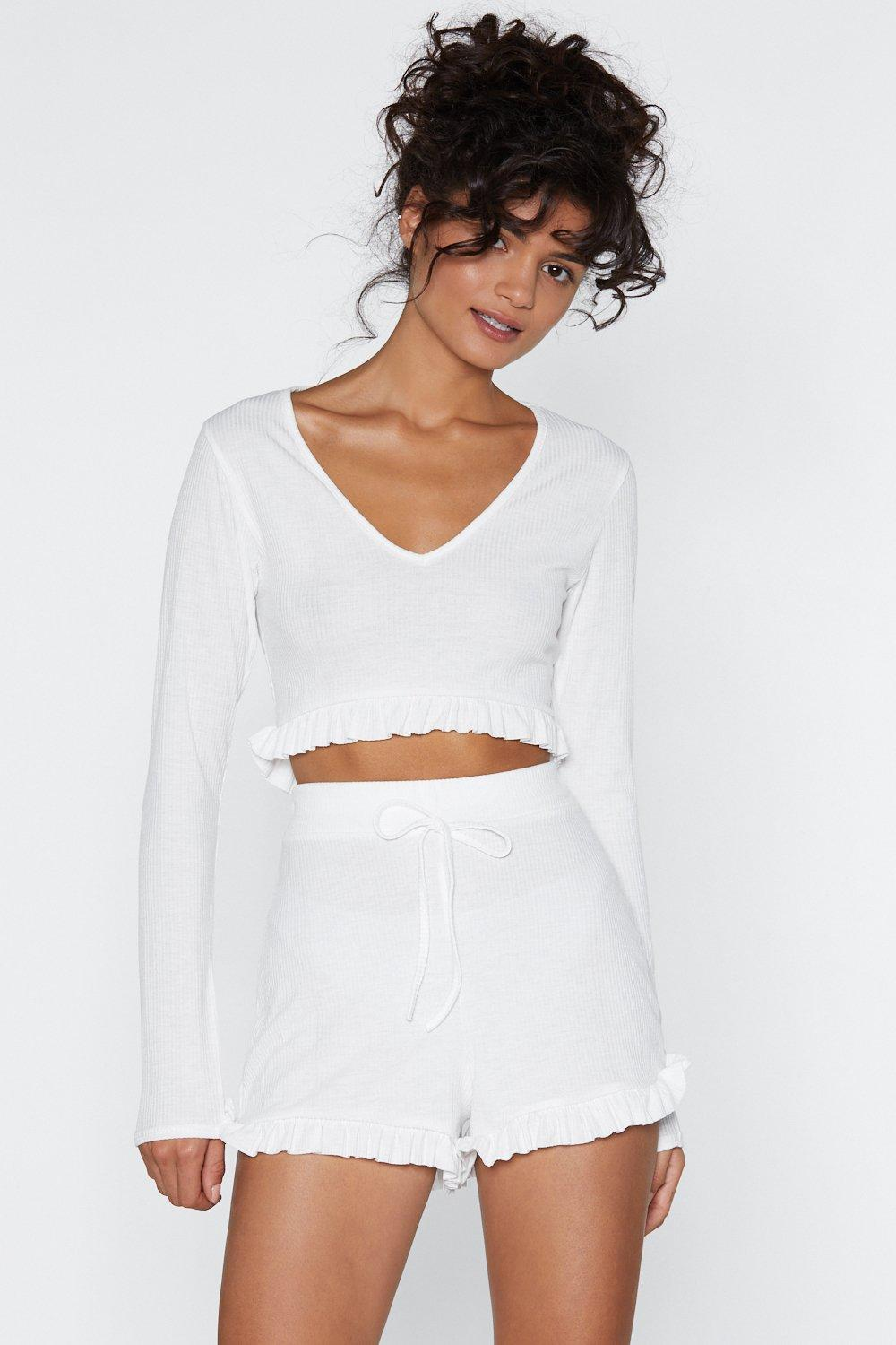 b88bbe67e58a Sooner or Later Lounge Crop Top and Shorts Set