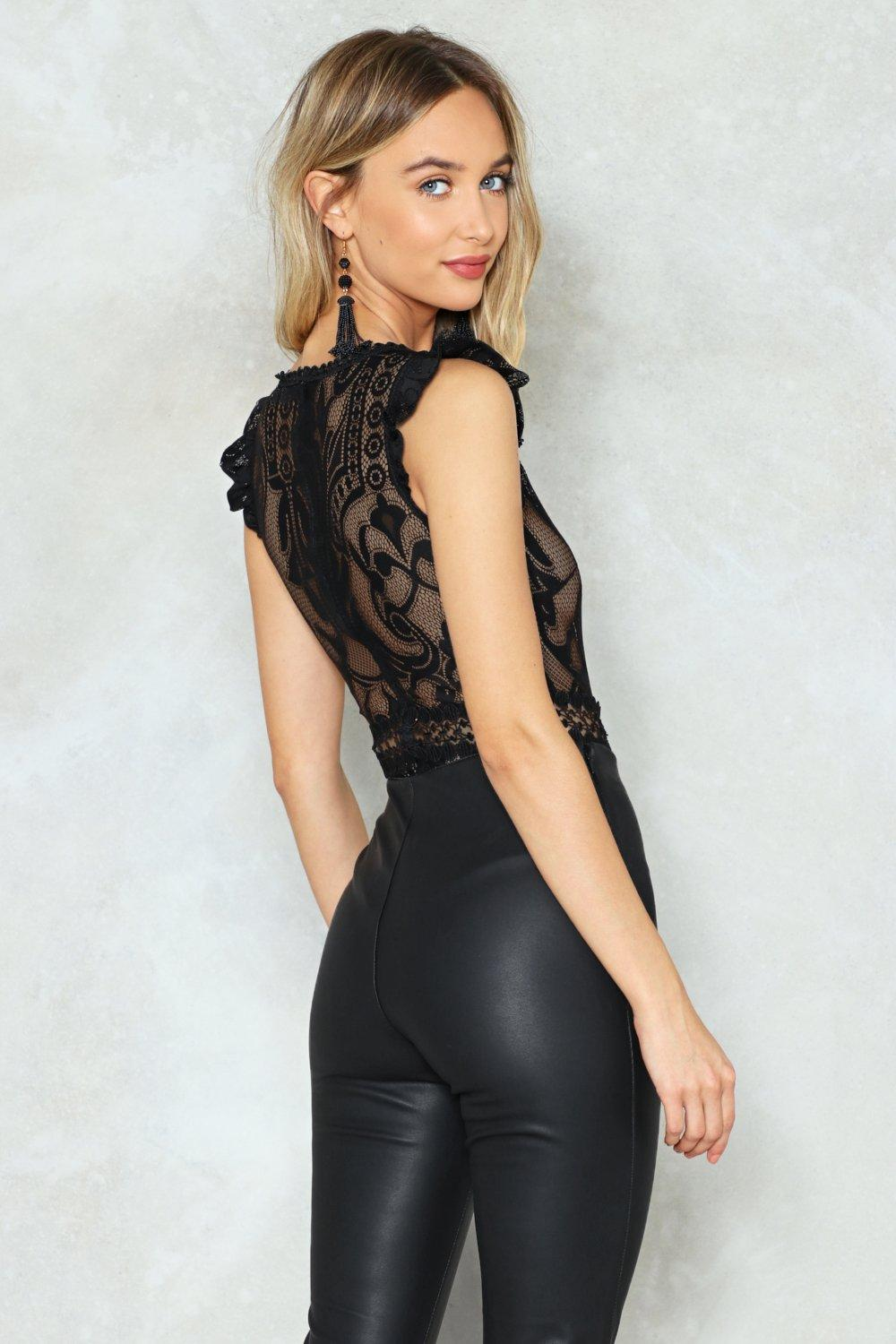 4e82ba064962 Cap Sleeve Lace Bodysuit. Hover to zoom
