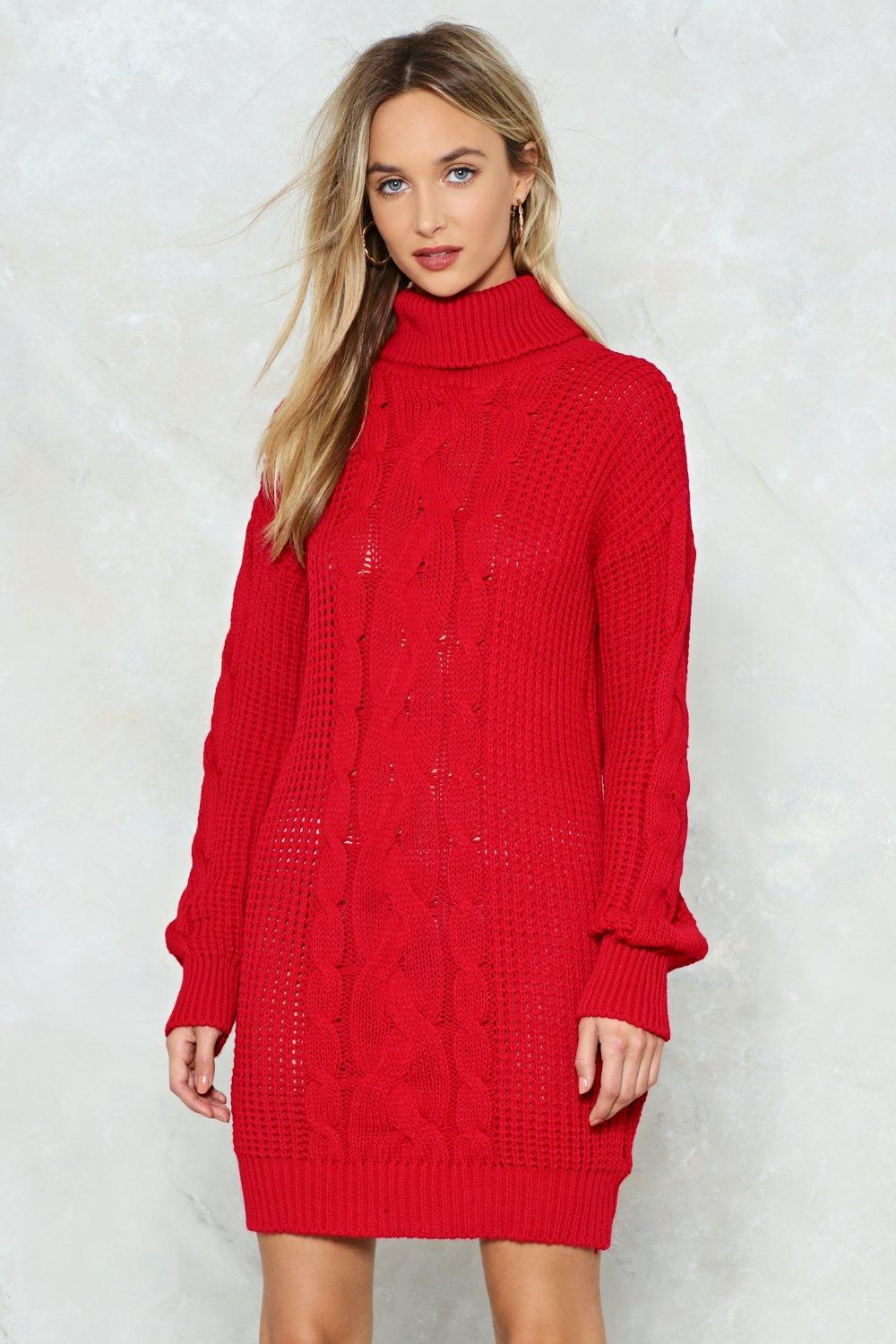7a47ea3bcc Akira Turtleneck Open Back Ribbed Knit Sweater Dress In Black Red ...