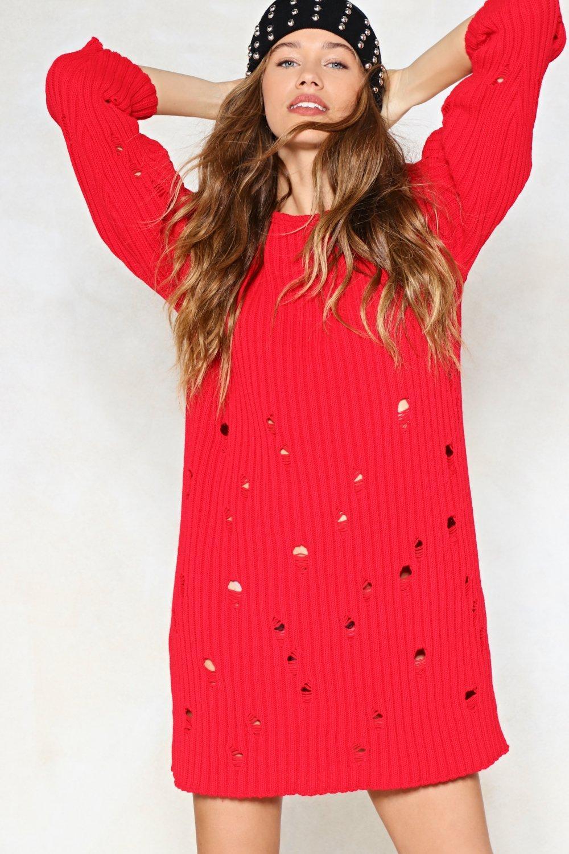 1475149e5e Womens Red Hole Hearted Sweater Dress
