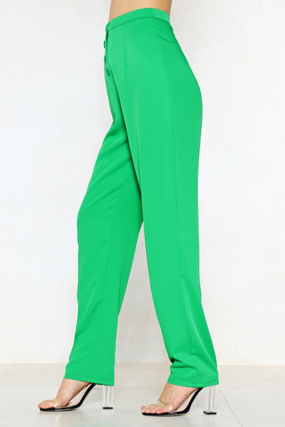 691d7ab73 Womens Green Button Up to No Good High-Waisted Pants