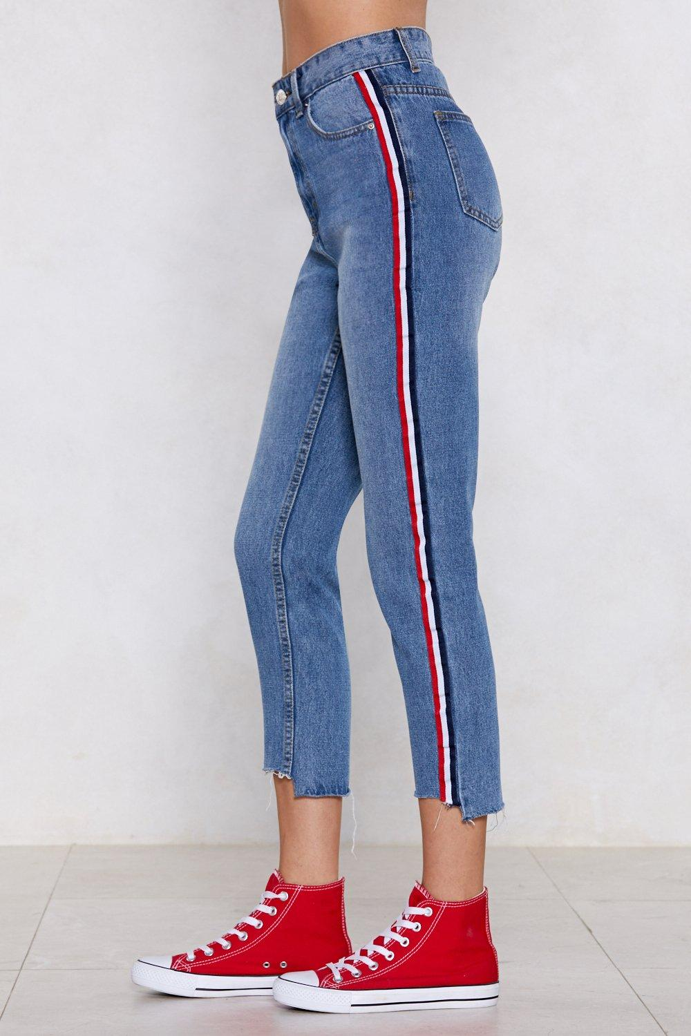 2e233e517b53b7 You're Absolutely Stripe High-Waisted Jeans | Shop Clothes at Nasty Gal!