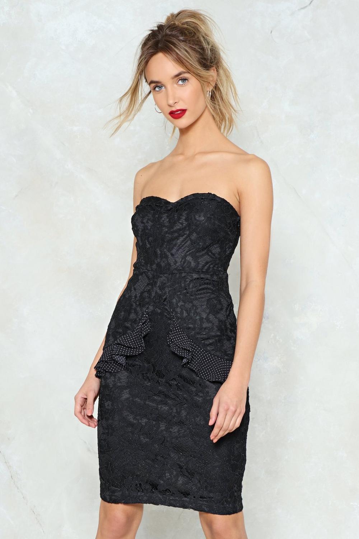 Black Lace Strapless Cocktail Dresses