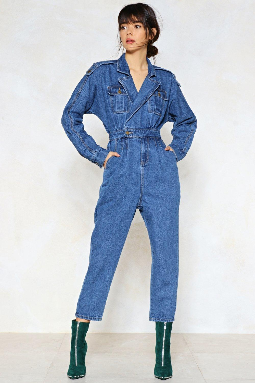 Blue Jean Baby Denim Jumpsuit Shop Clothes At Nasty Gal